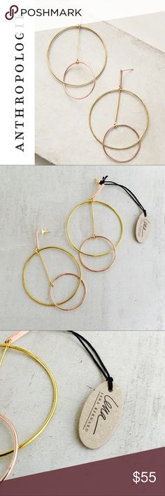 """ANTHROPOLOGIE Pendulum Circle Earrings Complex geometric shapes in contrasting metals make a striking statement, day or night. Gold and rose gold. BY LENA BERNARD * Brass, 18k rose gold plating  * 3.5""""L, 2""""W Anthropologie Jewelry Earrings"""