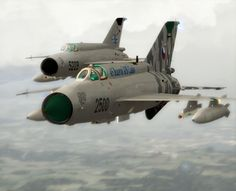 A pair of Czech Air Force Mig-21s.