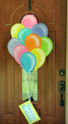 Balloon burlap door and wall hanger. $35.00, via Etsy.