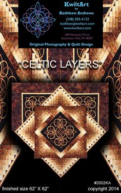 Celtic Layers Quilt Pattern KWA-2002 (advanced beginner, wall hanging, lap and throw)