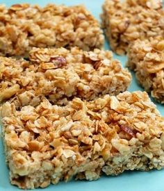 Crispy Honey Nut Granola Bars - these are GREAT! Kids and hubs love them and they taste good crumbled up like cereal with milk too - no need to ever buy granola or granola bars ever! Healthy Granola Bars, Homemade Granola Bars, Healthy Snacks, Healthy Recipes, Crunchy Granola, Healthy Breakfasts, Protein Snacks, Protein Bars, High Protein