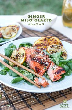 Grilled salmon gets and easy upgrade with fresh, Asian-inspired flavors including white miso, ginger, garlic and sesame. Try the recipe tonight.   via Simply Organic