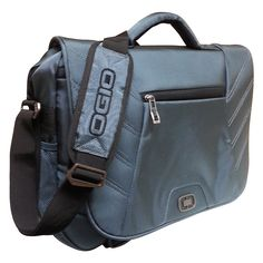 This flap over computer briefcase from Ogio features a double lock closure. An adjustable shoulder strap and top handle offer carrying versatility.