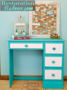 I love the idea of painting the outside turquoise and the drawers white, this turquoise knobs - for the nightstand