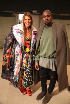 Kanye at the Celine S/S '15 show with Anna Dello Rossi 9/28/14