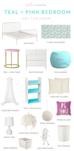 young girl's teal and pink bedroom design with pops of gold! FREE mini e-design session by caroline on design. Pink Bedroom Design, Pink Bedroom For Girls, Pink Bedrooms, Gold Bedroom, Teen Girl Bedrooms, Little Girl Rooms, Bedroom Colours, Luxury Bedrooms, Teen Bedroom