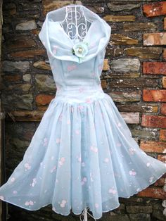 Vintage 1950s 50s full skirt fitted bodice Blue pink rose organza gauze dress 8 10 S