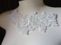 SINGLE Beaded Applique in Ivory Creme Lace for by MaryNotMartha, $3.75