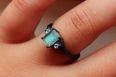 Satellite Emerald Cut Labradorite With Accent Moonstones in Sterling Custom Made in Your Size on Etsy, $195.00