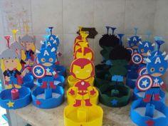 enfeites dos vingadores | arte sel lembrancinhas | 2BF921 - Elo7 4th Birthday Parties, Superhero Party, Draco, Special Day, Avengers, Centerpieces, Diy, Spider Man Birthday, Superhero Birthday Party