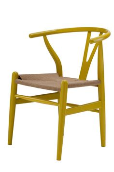 Replica Hans Wegner Wishbone Chair Yellow -- The Wishbone Chair was designed in 1949 by Denmark's foremost furniture designer Hans Wegner.  The Wishbone Chair was originally inspired by classical portraits of Danish merchants sitting on Chinese Ming chairs.  The Wishbone Chair is also known as the CH24 Y Chair, and is widely used as a dining or occasional chair in both period and modern contemporary interiors.  With its generous size, lightweight structure and comfortable arm rests the Hans…