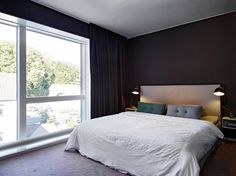 Bedroom with dark walls