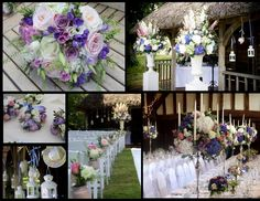 Outdoor wedding ceremony at Great Fosters in Surrey. Quitessentially english country garden wedding flowers, just picked style wedding flowers, featuring amazing outdoor ceremony centrepieces, informal wedding flowers in tea pots, jars and vintage bottles, tea cups.  Beautiful blend of ivory, pale dusky pink, lilac and deep purple, with roses, hydrangeas, paeonies, scented stocks, lisianthus and astrantia, herbs and interesting foliage.