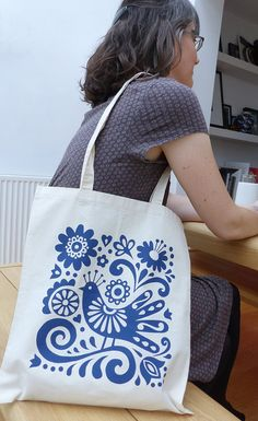 Tote Bag Mexican Bird Blue Screen Print Flowers by FranWoodDesign
