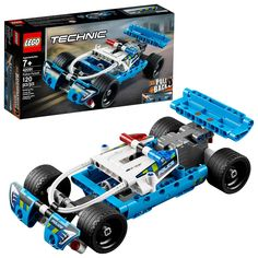 Power up the pull-back motor and start a high-speed chase with the sturdy LEGO Technic 42091 Police Pursuit vehicle! This police car toy features an awesome blue, white and black color scheme Gender: unisex. Kids Police Car, Lego City Police, Police Cars, Models Men, Lego Models, Lego Ninjago, Legos, Bugatti, Pick Up