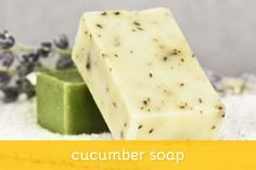 Two recipes for cucumber soap. Cucumber juice has long been used as an astringen… Two recipes for cucumber soap. Cucumber juice has long been used as an astringent facial cleanser and acts as a mild cleanser and skin toner in these recipes. Handmade Soap Recipes, Soap Making Recipes, Bath Recipes, Handmade Soaps, Diy Soaps, Cucumber Recipes, Cucumber Juice, Face Soap, Diy Lotion