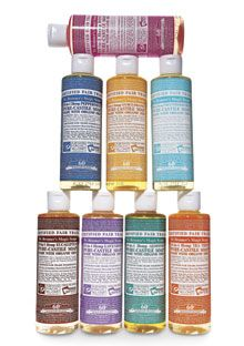 Dr. Bronners ~ hard to pick a favorite : Lavender, Peppermint, Almond...