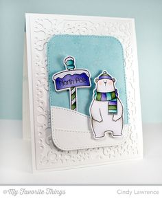 Cool Day stamp set and Die-namics, Snowflake Fusion Cover-Up Die-namics, Stitched Rounded Rectangle STAX Die-namics, Stitched Snow Drifts Die-namics - Cindy Lawrence #mftstamps