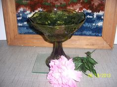 Indiana Green Glass Harvest Grape Compote / Tall Urn Vase with Pedestal Base