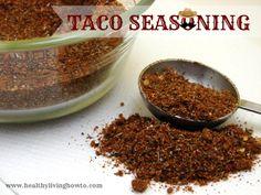 Taco Seasoning. 1 recipe = 1 packet taco seasoning. Or use 3 Tbs per 1 pound meat.