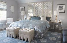Mabley Handler: Amazing blue bedroom with Madeline Weinrib Atelier Light Blue Mandala Rug, light gray ...