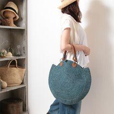 【SALE】サンアルシデ(Sans Arcidet) カゴバッグ NOVA BAG M D1 (BLUE JEAN) ラフィア丸型トートバッグ 送料無料