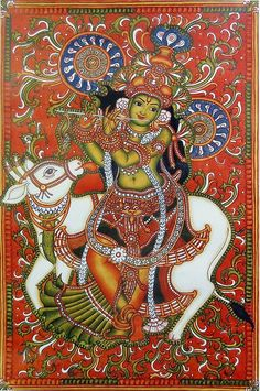 Black Canvas Paintings, Indian Art Paintings, Kalamkari Painting, Madhubani Painting, Good Morning Gif Animation, Mural Art, Murals, Rajasthani Painting, Kerala Mural Painting