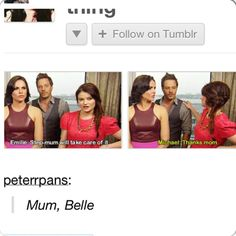 I love how Emilie feels Belle and Rum are close enough that Belle can basically be considered Bae's stepmum.