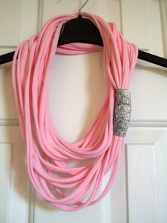 Pink Recycled Tshirt Scarf w/ Glitter Accent