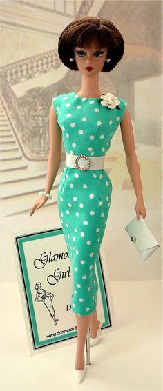 Barbie in custom design by Donna's Doll Designs - polka dot turquoise sheath dress