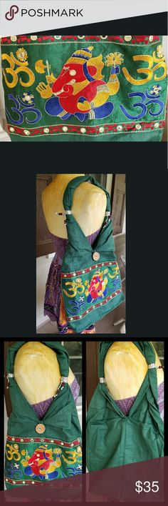 Boho Hippie Embroidered Tote Shoulder bag so cute!  a twill like material not quite sure .fabric not leather or pleather .has an embroidered panel.  inside is open except for 1 zipper compartment for cell phone or whatever else would fit .  more info such as dimensions and pics will be added or pls feel free to buy this as it is currently listed.   color is green w/multi color embroidery . I bought from manufacturer so have listed as boutique. came in a bag.  I took out of bag to pic so no…