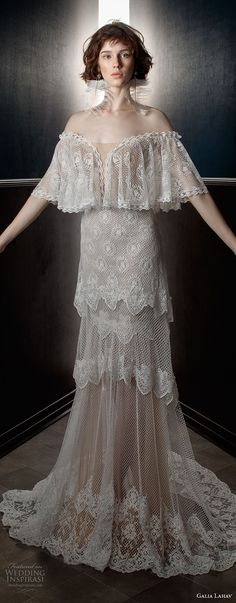 galia lahav spring 2018 bridal off the shoulder angel sleeves sweetheart neckline full embellishment capelet vintage a  line wedding dress sweep train (lizzy) mv -- Galia Lahav Spring 2018 Wedding Dresses