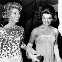 Jackie Kennedy and Nicole Alphand (Nicole and her husband Herve, who was the French ambassador, were friends of the Kennedys. The weekend of the assassination, all of the embassies in DC were full because everyone wanted to be at the funeral. On Saturday a threat on been made on DeGaulle's life so Nicole went through the embassy checking every window. The first time I read that I picture a tiny woman with dark hair wearing a Chanel dress.)