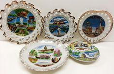 Souvenir Collector China Plates Porcelain by Snowyowltreasures