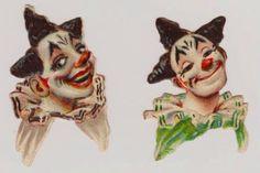 """Lot 3 Victorian Clowns Heads Small Die Cut Scraps 2"""" x 1.25"""" & 1.5"""" x 1.25"""""""