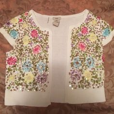 EMBELLISHED CROP SWEATER Beautiful embellished ivory crop sweater. One of a kind piece Escio Sweaters Cardigans