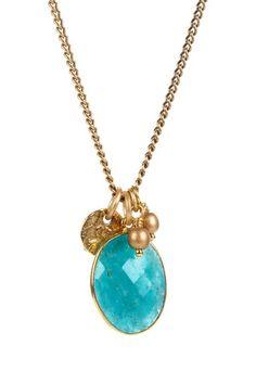 {Russian Amazonite + Gold Charm Necklace} mariechavez