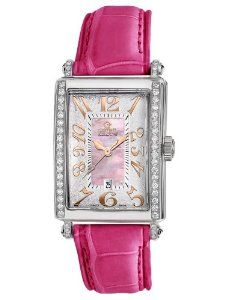 Gevril Women's 7248RE.10B Pink Mother-of-Pearl Genuine Alligator Strap Watch