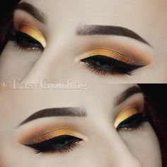 Warm Golden Copper Arabic Eyeshadow by Easy Golding (@easygolding) -> Instagram  Brows: @anastasiabeverlyhills #dipbrowpomade in chocolate  Eyes: @zoevacosmetics Caramel Melange & Blanc Fusion Palette Glitter: @urbandecaycosmetics Heavy Metal Liner in Midnight Cowboy Liner: @sigmabeauty Wicked Gel Liner Lashes: @hellagoodlashes Lifeart Brushes: @zoevacosmetics @sigmabeauty