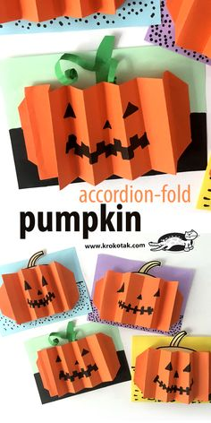 Pumpkins – accordion-fold - Kreative Kids - New education Halloween Tags, Moldes Halloween, Manualidades Halloween, Halloween Crafts, Fun Crafts For Kids, Craft Activities For Kids, Toddler Crafts, Preschool Crafts, Pumpkin Art