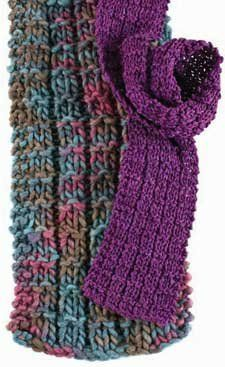 UNIVERSAL SCARF With yarn & needles of your choosing, CO 18 sts.   Rows 1 and 3: K2, [k2, p1] 4 times, k4. Row 2: K2, p2 [k1, p2] 4 times,k2. Row 4: Knit. Rep Rows 1-4 until scarf measures desired length, leaving enough yarn to BO and ending with a Row 2. BO all sts loosely in patt. FINISHING Weave in ends.  This stitch pattern is non-curling, so blocking is unnecessary. However, you may wish to spritz with water, or lightly steam, to set stitches and ends.