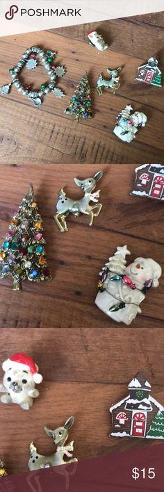 Jewelry Lot! Vintage Christmas Pins Vintage Christmas Pins, Brooches and Bracelet Vintage Jewelry