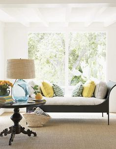 metal daybed || glass lamp from Peter Dunham's Hollywood at Home || sisal rug