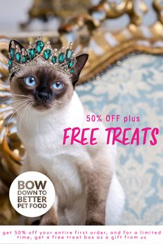 CYBER WEEK SPECIAL: 50% Off + Free Treat Box!  Join our royal family to get 50% off your entire first order, and for a limited time, get a free treat box as a gift from us. Each box contains three full-sized packages of our favorite all-natural treats, a $25 value!