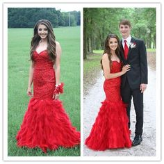 Red Real Made Beading Charming Mermaid Dresses/Long Evening Dresses/Red Prom Dresses 2016 # S203