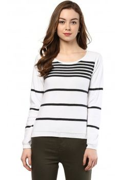 ee1ecd8052e White Striped Flatknit Top Casual Tops