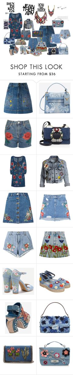 """embroidered denim"" by mimmiandkinkistatementjewelry ❤ liked on Polyvore featuring Alice + Olivia, Valentino, Alima, Topshop, Miu Miu, Roberto Cavalli, Miss Selfridge, MANGO, House of Holland and Gucci"
