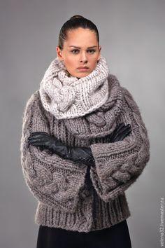 """Купить Куртка """"Диана"""" - коричневый, однотонный, снуд вязаный, снуд женский, снуд спицами"""