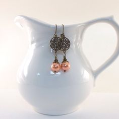 Peach Pearl Earrings Antique Brass Lever Back by CinLynnBoutique, $18.00