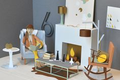 Chloe Fleury's Paper World - paper interior design, by the fire